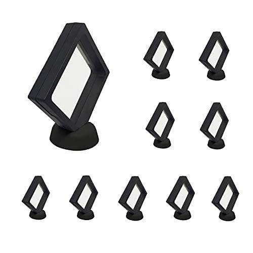 アクセサリー収納ケース 展示ケース 10個セット 台座付き キーホルダー 透明 プラスチックケース 収納 保管 展示 透明ケース… (ブラック9*9cm)