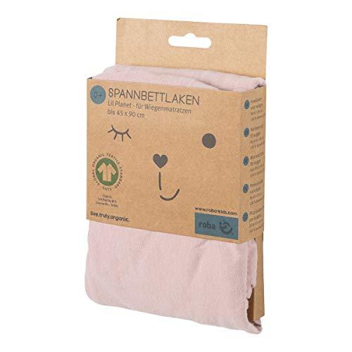 """roba Spannbettlaken für Wiegenmatratzen aus der Kollektion """"Lil Planet"""", Singlejersey, 100{315dbfef550eb4228d6f230b1e4a7230530675d1f999263241f002dbb6cdbb71} Bio-Baumwolle, Spannbetttuch passend für Matratzen 40x90 und 45x90 cm, Laken für Babywiege, Babybett, rosa"""