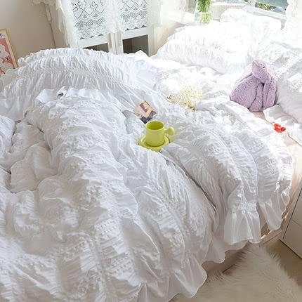 ZG-HOME Volante Fruncido 4piezas Funda Nordica 90-1fundas Nórdicas De +1 Sábana + 2 Fundas De Almohada- Juego De Ropa De Cama De Satén De Cremallera Microf(Size:1.2M Bed Single Quilt,Color:Blanco)