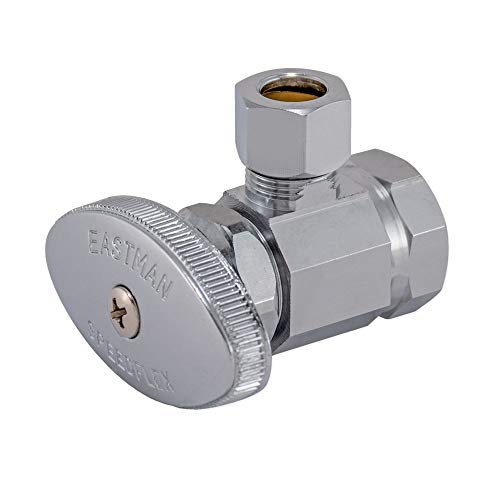 Eastman 10809LF, Chrome Multi-Turn Angle Stop Valve with Brass Stem 1/2 inch FIP x 3/8 inch OD Comp