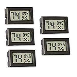 5 Pack Mini Thermometer Hygrometer, Small Digital Electronic Temperature Humidity Meters Gauge Indoor Outdoor LCD Display Monitor Fahrenheit (?) for Humidors Greenhouse Home Room Cellar Fridge