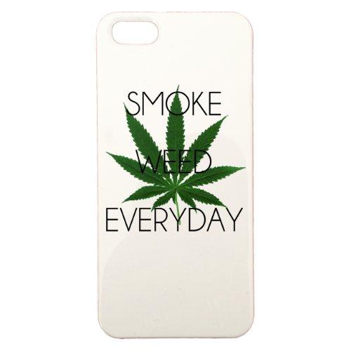 Cover di protezione personalizzabile in plastica–Apple–iPhone 5–Smoke Weed Everyday–Colore: Bianca