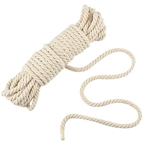 JALAN 8mm Makramee Baumwollschnur, Pflanzen Kleiderbügel Wandbehang häkeln Bohemia Dream Catcher DIY Craft Knitting - 10M weiche ungefärbt natürliche Farbe Schnur String