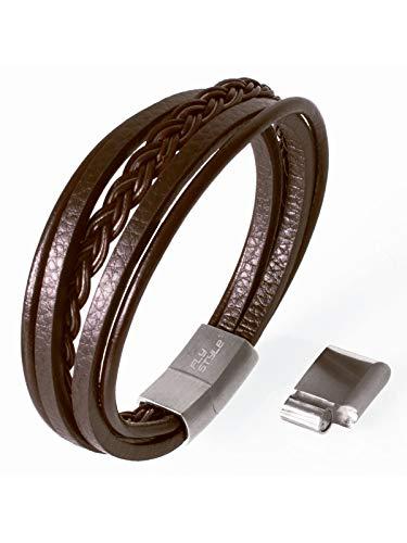Fly Style Lederarmband für Männer mit Magnetverschluss aus Edelstahl · Herren Armband in Länge 18-25 cm · Kunst Leder in Schwarz oder Braun, Farbwahl:braun, Längen:ca. 24 bis 25 cm