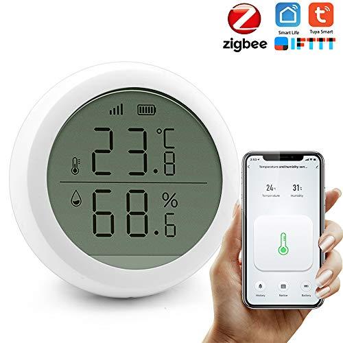 KKmoon Zigbee Sensore di umidità della Temperatura,Regola automaticamente,WiFi App Controllo con Schermo LCD,ad Alta precisione,Funziona con Gateway Hub Scena domotica