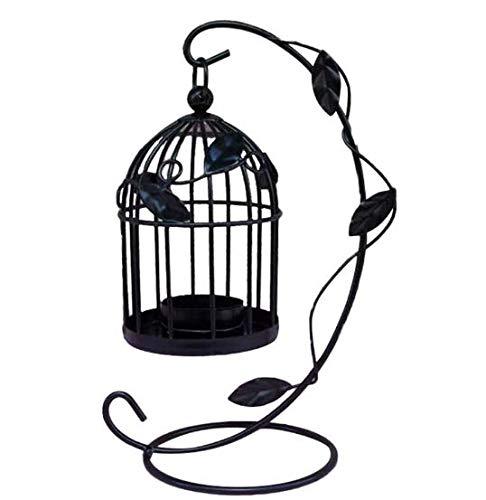 Metal Candle Holder, Retro Hollow Hanging Birdcage Candle Holder Lantern, Used for Home Decoration (Black)………