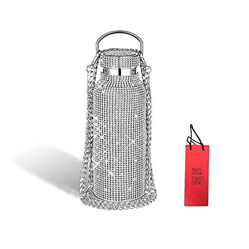 MJZH Botella de agua de diamantes, purpurina de acero inoxidable térmica de diamantes de imitación brillante con cadena, botella de agua aislada reutilizable recargable para mujeres y niñas (500ml)