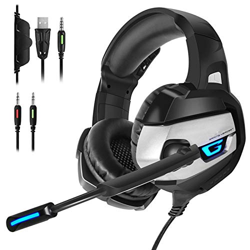 IOIOA Montado en la Cabeza Gaming Headset, Deep Bass Stereo Juego de Auriculares con Cable Auriculares con micrófono de luz LED para el Ordenador portátil PS4 Xbox,A