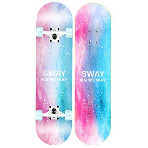 HYE-SPORT 31 Pulgadas X 8 Pulgadas Skateboard estándar Completo con 7 Capas Maple Wood Cruiser Skateboard Deck Regalo de cumpleaños para niños Niños Niñas 5 años de Edad