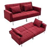 Mingone Schlafsofa Sofa mit Schlaffunktion 3 Sitzer Sofabett Verstellbarer Winkel Couch Schlafsessel (Weinrot, 76 x 86 x 148 cm)