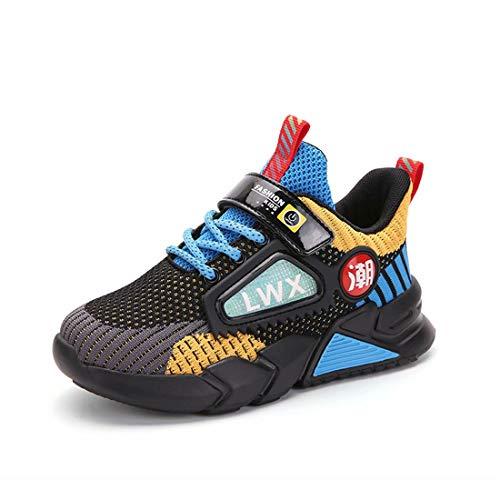 Kinder Schuhe Sportschuhe Jungen Klettverschluss Turnschuhe Mädchen Laufschuhe Outdoor Wanderschuhe Atmungsaktiv rutschfest Gelb Größe 32