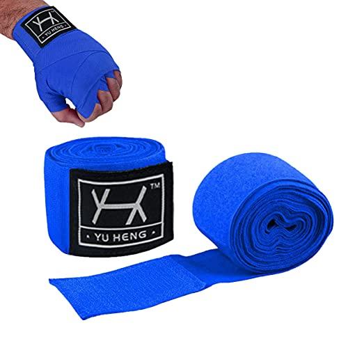 Bende Boxe Muay Thai,Fasce Boxe Bendaggi Elastiche,Fasciatura Boxe,Bendaggio Boxe 5m,Bende Pugilato,Fasce Boxe Bendaggi per MMA Kick Boxing PugilatoTaekwondo Arti Marziali Coppia (Blu)