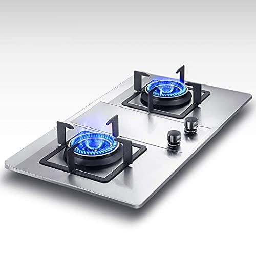 YXYY 71 cm inbyggd 2 brännare gasspis, pulständning   Automatiskt skydd mot flameout   Halkfri spisram   Zinklegering knopp [Energiklass A] (Färg: Silver, storlek: LPG)