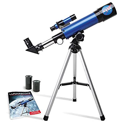 NASA Lunar Telescope for Kids – Capable of 90x Magnification, Includes Two Eyepieces, Tabletop Tripod, Finder Scope, and Full-Color Learning Guide, the Perfect STEM Gift for a Young Astronomer by JMW Sales, Inc