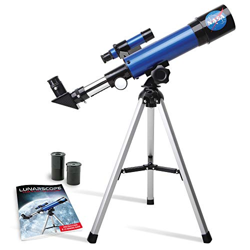 NASA Lunar Telescope for Kids – Capable of 90x Magnification, Includes Two Eyepieces, Tabletop Tripod, Finder Scope, and Full-Color Learning Guide, The Perfect STEM Gift for a Young Astronomer