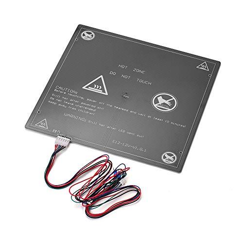 Fesjoy 12V Impresora 3D Plataforma de calentamiento de la cama caliente Heatbed Aluminio 300 * 300 * 3 mm con cable de cama caliente para proveedores de actualización de impresora 3D E12 (1pcs)