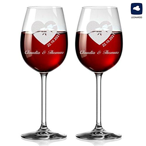 polar-effekt 2 Leonardo Weingläser Personalisiert mit Gravur - Geschenkidee Verlobung, Weihnachten für Paare - Motiv Herz mit Schleife