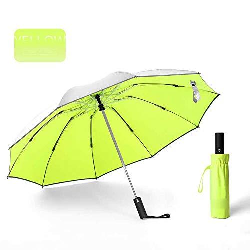 Paraguas invertido Plegable automático a Prueba de Viento, Paraguas inverso portátil de 10 Costillas con Franja Reflectante, Paraguas de teflón