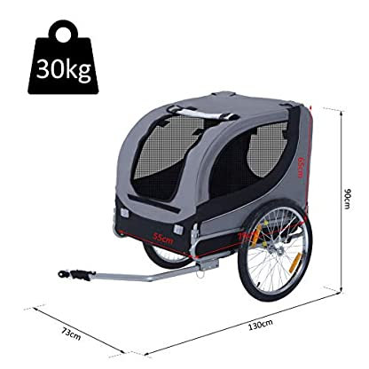 PawHut Steel Dog Bike Trailer Pet Cart Carrier for Bicycle Jogger Kit Water Resistant Travel Grey and Black 2