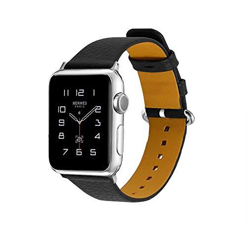 Fhony Correa Cuero Compatible con Apple Watch 38 mm 40 mm 42 mm 44 mm Hombres Mujer Correa de Repuesto de Piel Auténtica Sport Edition Correa para Iwatch Serie SE/6/5/4/3/2/1,Negro,42/44mm