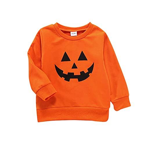 Kleinkind Kinder Langarm Halloween Cartoon Bedruckt Tops Jungen und Mädchen Frühling und Herbst Baumwolle Cartoon Anime Jacke Langarm Kinderoberteil (1-6 Jahre)
