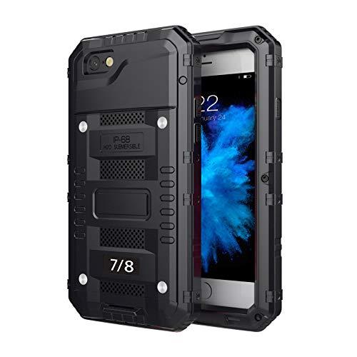 Impermeable Funda para iPhone6/6S/6S Plus/7/7 Plus/8/8 Plus, [Sumergible] Carcasa Resistente Reforzada Metálica Grado Militar Anti-rasguño Cover con Protector de Pantalla,Black,iPhone6S
