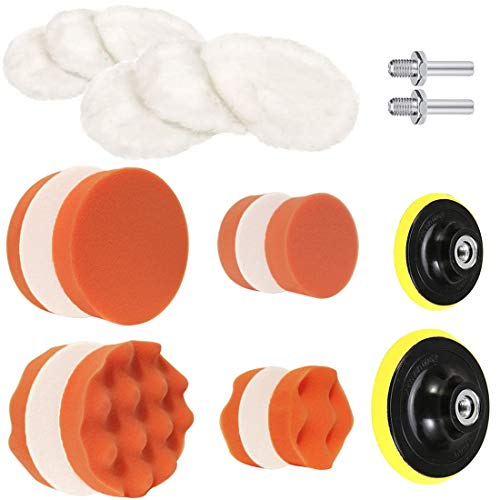 Drill Buffing Sponge Pads Car Foam Woolen Polishing Pads Kit for Car Buffer Polisher Sanding Waxing Sealing Glaze 5 Inch&3 Inch (Orange)