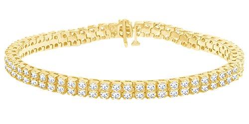 Taglio rotondo bianco diamante naturale due fila bracciale tennis in oro massiccio 10ct (9Cttw)
