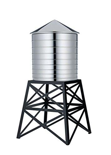 Alessi DL02 B Water Tower Behälter - Edelstahl 18/10 glänzend poliert mit Aufsatz - Stahl, epoxidharzlackiert, schwarz.