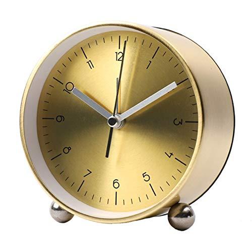 Reloj Despertador De Escritorio Analógico Clásico Redondo, Material Metálico, Movimiento Silencioso con Función De Alarma, Ideal para Cabeceras, Oficinas, Viajes, 10X11.5X11Cm