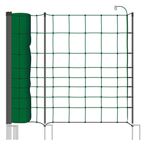 VOSS.farming Rete per recinzioni da pascolo elettrificabili,Altezza 106 cm e Lunghezza 50 m, a Doppia Punta, 20 Pali Neri, Colore Verde