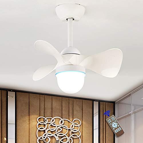 JAHQ - Ventilador de Techo con Luz, Diseño Exclusivo, Silencioso, Potente, 3 Aspas, Mando a Distancia, 55 cm de Diámetro, 6 Velocidades,Temporizador, Motor AC, 36W (Blanco)