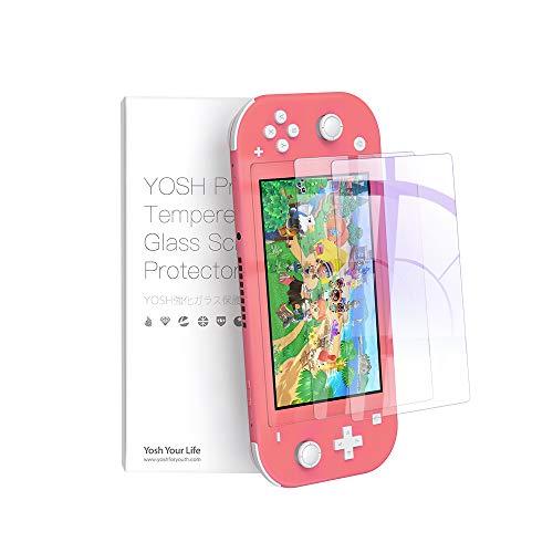 YOSH 二枚入り Nintendo Switch Lite ガラスフィルム 気泡なし 簡単に貼れる 日本硝子素材 ブルーライトカット95% 飛散防止 保護フィルム 任天堂 スイッチ フィルム 強化保護ガラス 硬度9H ガラス指紋防止 気泡ゼロ 自動吸着 高透過率メーカー正規品