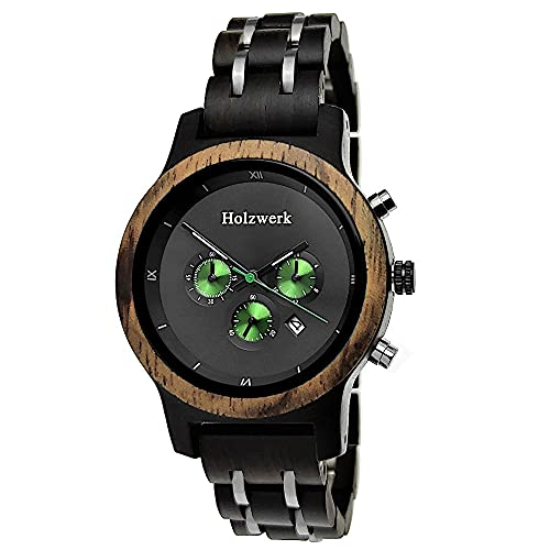 Handgefertigte Holzwerk Germany® Designer Damen-Uhr Öko Natur Holz-Uhr Chronograph Armband-Uhr Analog Quarz-Uhr Schwarz Braun Grün Datum Holz Ziffernblatt