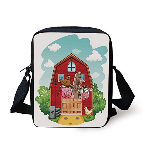 Cartoon,Happy Farm Animals Living in Barnhouse Chicken Pig Horse Domestic Rural Artistic,Green Red Print Kids Crossbody Messenger Bag Purse