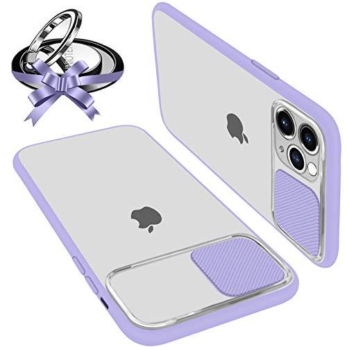 Custodie con Protezione Fotocamera Compatibile con iPhone 11 Anti-Graffio Anti-Caduta Anti-Impronta Hard PC Bordo Ultra Sottile Morbido Silicone TPU con Supporto ad Anello per iPhone 11 (Viola)