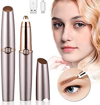 Eyebrow Hair Remover Facial Hair Remove, USB Charging Electric Eyebrow Trimmer for Women, Painless Eyebrow Razor Tool with LED Light for Face Lips Nose by Prooral Health Technology ?Shenzhen?Ltd.