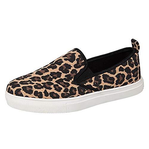 Damen Slip-On Sneaker Weich Flache Plateau Loafer mit Leopardenmuster, Frauen Mokassins Low Top Bequeme Halbschuhe Leicht Atmungsaktive Slipper Freizeit Schuhe Celucke (Braun, 38 EU)
