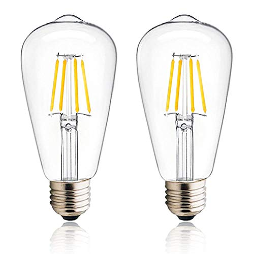 Luxvista 4W E27 ST64 Ampoule LED à Filament 12-36V Basse Tension, Edison Vis ES E27 Ampoule LED Vintage 400 lumen équivalent 40W Halogène, Idéal pour RV Camper Yacht (Lot de 2, Blanc Chaud 2700K)
