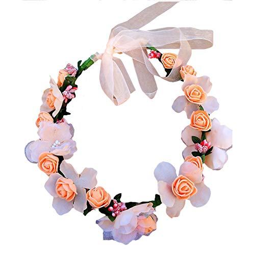 Demarkt - Cinta para el Pelo de Novia, con Flores simuladas, para Mujeres y Bodas, Guirnalda de Flores, Cinta para el Pelo, champán, Einstellbar