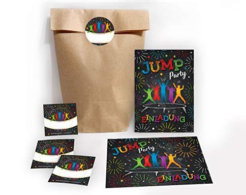 JuNa-Experten 6 Einladungskarten Kindergeburtstag Jump Trampolin Mädchen Junge incl. 6 Umschläge, 6 Tüten / Natur, 6 Aufkleber