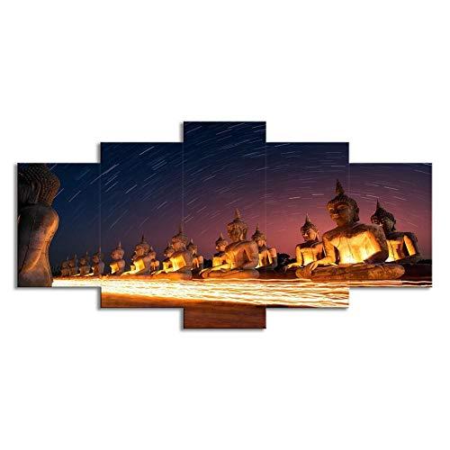 """WLGOOD-Bild 200x100 cm / 78.8\""""x 39.4\"""",In Vier Größen erhältlich-Bilder auf Leinwand-Leinwandbilder-Bilder-Vlies Leinwand-Wandbilder-Kunstdrucke-5 Teilig,Statue De Bouddha,Cadeau"""