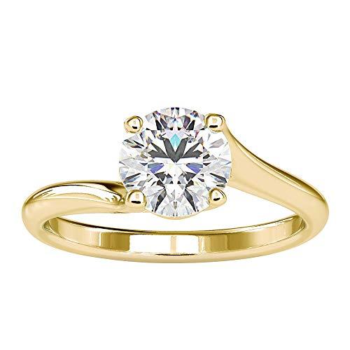 Anillo de compromiso de moissanita certificado de 1,3 quilates, anillo de compromiso clásico de oro de 18 quilates, anillo de compromiso de oro amarillo de 18 quilates, talla S