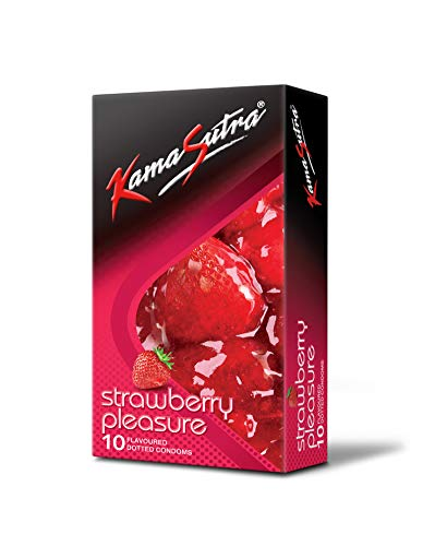 KamaSutra Strawberry Pleasure Flavoured Condoms Pack of 10, clear