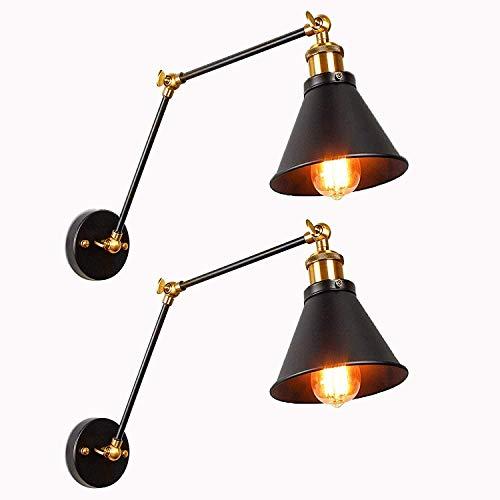 Jiguoor Vintage Industrielle Wandlampen Edison Wandleuchten Swing Arm Hängeleuchten lampen für Wohnzimmer Schlafzimmer Badezimmer Flur Balkon Treppen(langer Arm,2pcs,Bulb ist nicht enthalten)