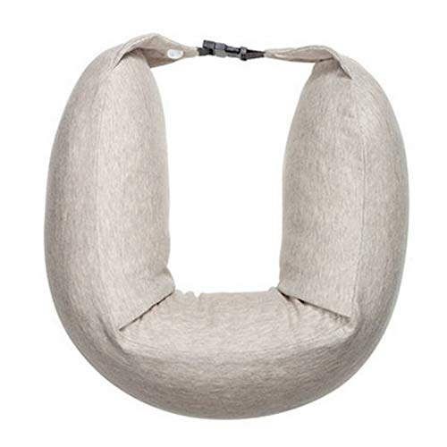 U-shaped Pillow Neck Support Pillow Sleep Relax Headrest Latex Cushion for Car Travel Home Office Soft and Easy to Carry (Color : Beige, Size : Onesize)