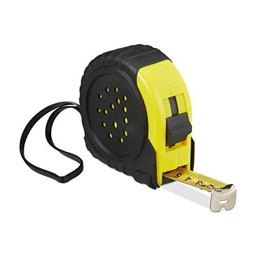 Relaxdays meetlint 10 m, professionele meetlint om uit te trekken, cm & inch, rolmeter van metaal, riemclip & stopper, zwart/geel