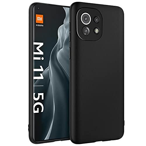 Verco Kompatibel mit Xiaomi Mi 11 Hülle, Matte Rückschale Schutzhülle für Xiaomi Mi 11 5G Hülle Silikon Handyhülle - Schwarz