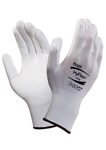 Ansell Hyflex 11-619 Guanto Multiuso, Protezione Meccanica, Bianco, Taglia 6 (Sacchetto di 12 Paia)