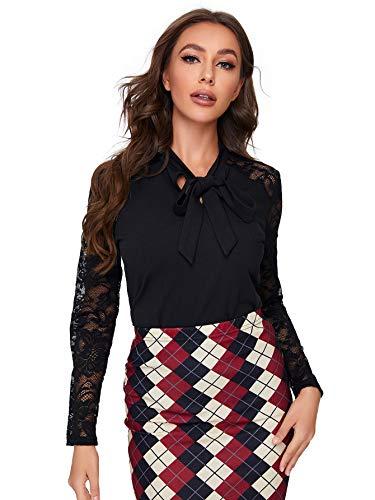 DIDK Elegante blusa de mujer de encaje, túnica, blusa de cuello alto con lazo, para oficina, manga larga Negro M